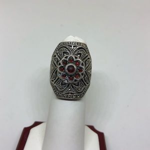 Jewelry - Garnet and marcasite sterling ring